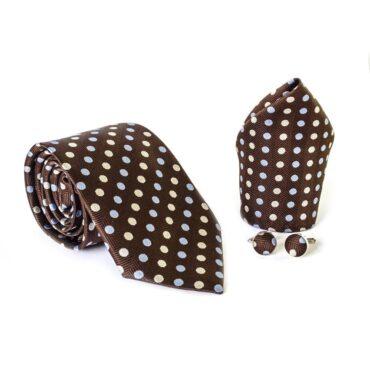 Tie Brown Dots Set (Tie+Hanky+Cufflinks ) – Me100