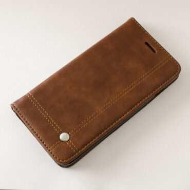 PHONE CASE Brown LEATHER FOR IPHONE 7 Plus   – Me152