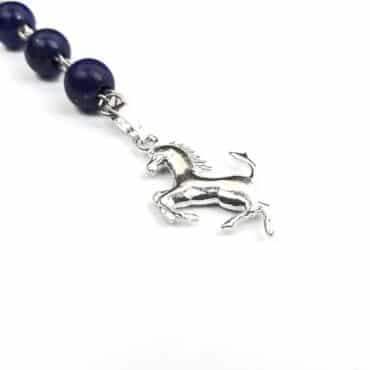 Me1194 – Necklace Blue Lapis  with Silver Horse