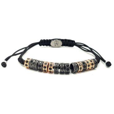 Luxury Shamballa Bracelet  Rose Gold & Black Silver Cylinders – Me053