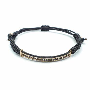 Me049 – Leather with Zircon Bracelet