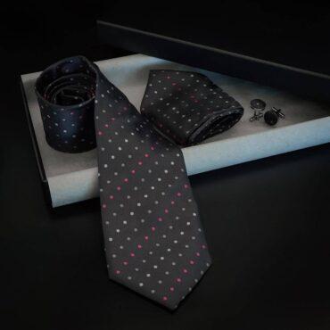 Gray Dots Tie Set (Tie+Hanky+Cufflinks) – Me077
