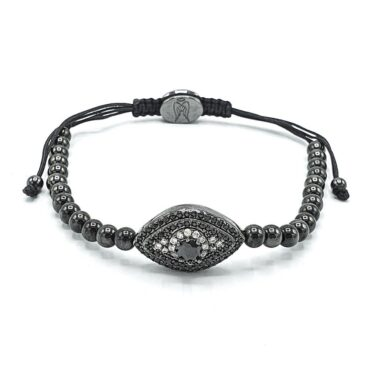 Evil Eye  Black Silver Shamballa Bracelet  – Me043