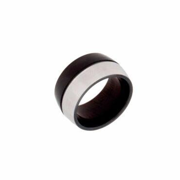 Me819 – Black & Silver Cylinder Ring