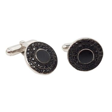 Me663 – Silver Inlaid Moon Cufflinks