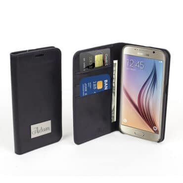 Phone Case Black Genuine  Leather for Samsung S6  + built in wallet – Me018