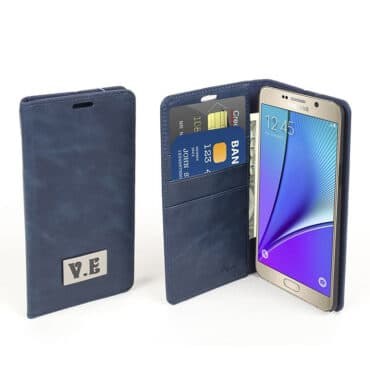 Phone Case Navy genuine  Blue Leather For Samsung Note 5 + built in wallet  – Me017