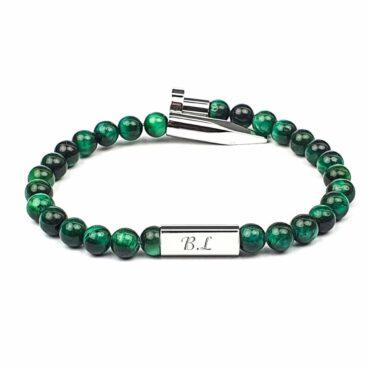 Me1441 – Stainless steel Nail / Green Tiger Eye Stone Bracelet