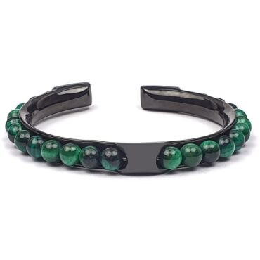 Me1445 – Green Tiger Eye Stone with Stainless steel bracelet