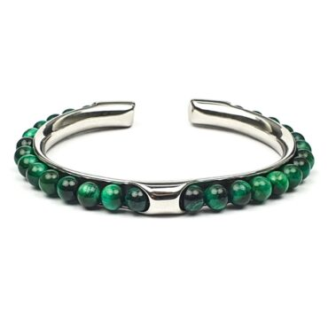 Me1446 – Green Tiger Eye Stone  with Stainless steel bracelet