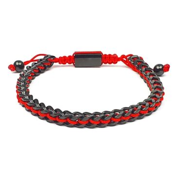 Me1453 – Black Chain Stainless Steel / Red String Bracelet