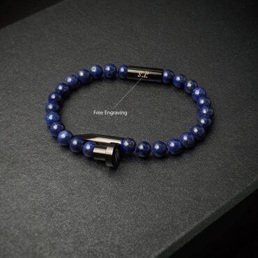 Me1463- Black Stainless steel Nail / Blue Tiger Eye Stone Bracelet