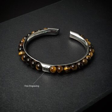 Me1447 – Brown Tiger Eye Stone  with Stainless steel bracelet