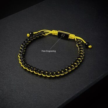 Me1455 – Black Chain Stainless Steel / Yellow String Bracelet