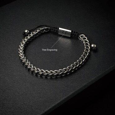 Me1457- Chain Stainless Steel / Black String Bracelet