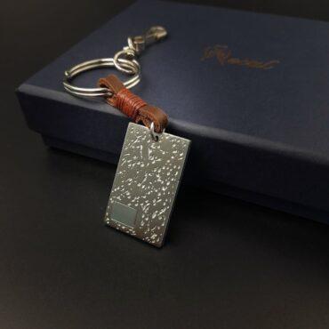 Me1498 – Genuine Leather /Steel keychain