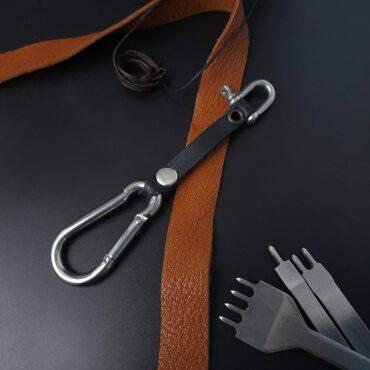 Me1507 – Genuine Black Leather keychain