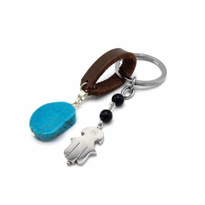 Me1524 – علاقة مفاتيح جلد بني مع حجر فيروزي و تعليقة الكف
