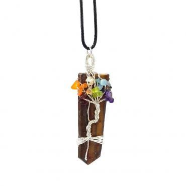 Me1519  – Tree Of Life Necklace Rainbow Crystal with  Natural Tiger Eye Stone  Car pendant