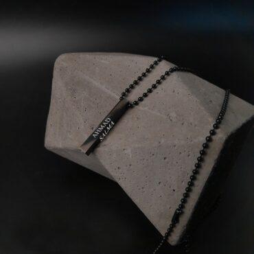 Me1539 -Black Cuboid Necklace